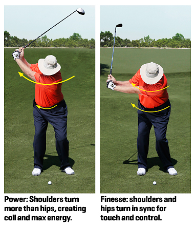 Pelz demonstrates power swing versus finesse swing